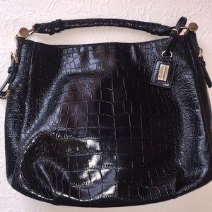Antonio Melani black croc embossed handbag